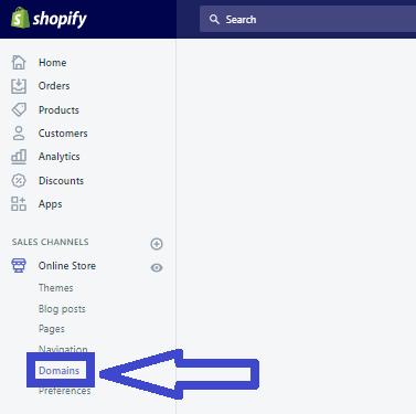 Tạo tên miền cho website Shopify