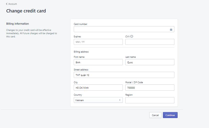 Thanh toán tiền mua tên miền trên Shopify