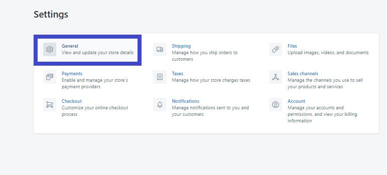 Cài đặt thông tin cơ bản cho website trên Shopify
