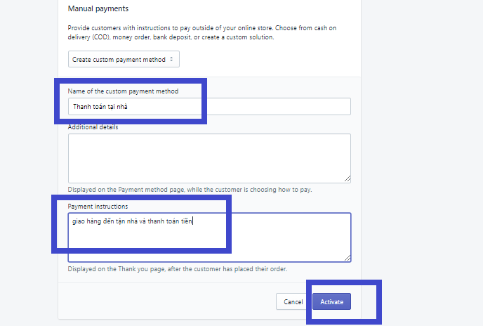 Cài đặt phương thức thanh toán và vận chuyển trên Shopify. Ảnh 3