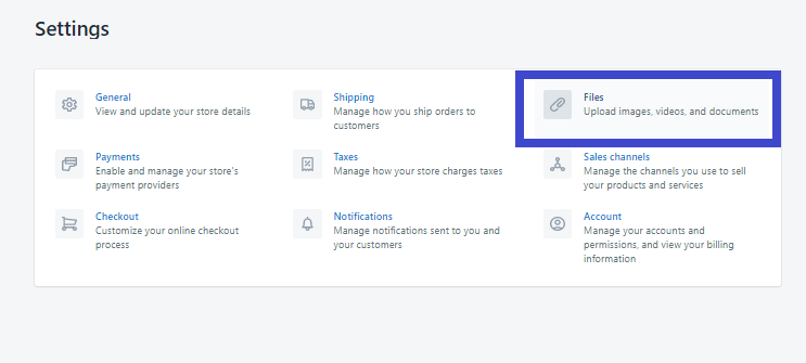 Cài đặt quản lý dữ diệu trên Shopify