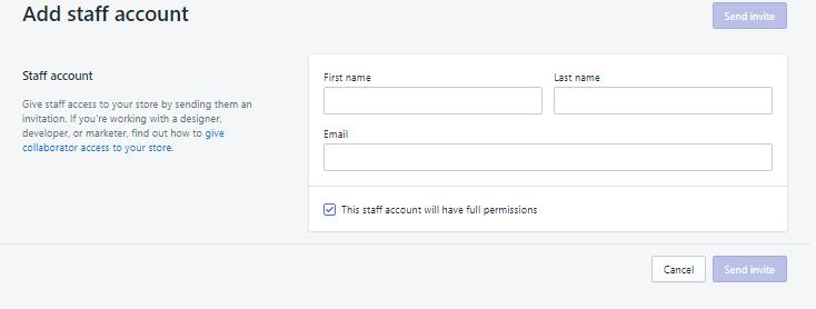 Cài đặt quản lý tài khoản trên Shopify. Ảnh 2
