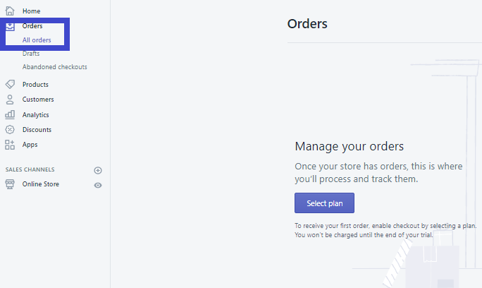 Nơi hiển thị thông tin đơn đặt hàng trên Shopify