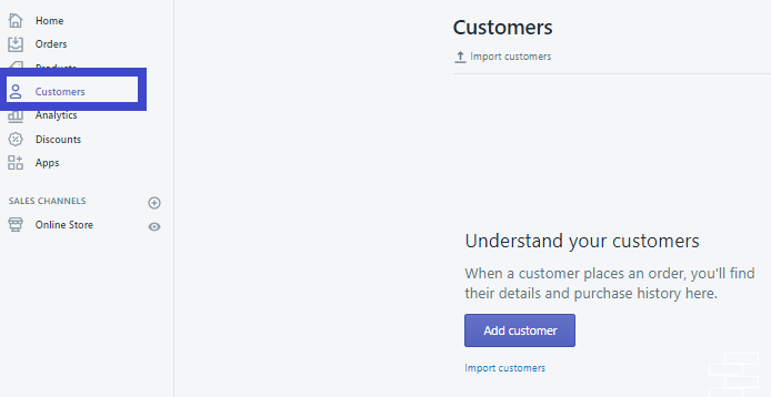 Nơi thống kê danh sách khách hàng trên Shopify