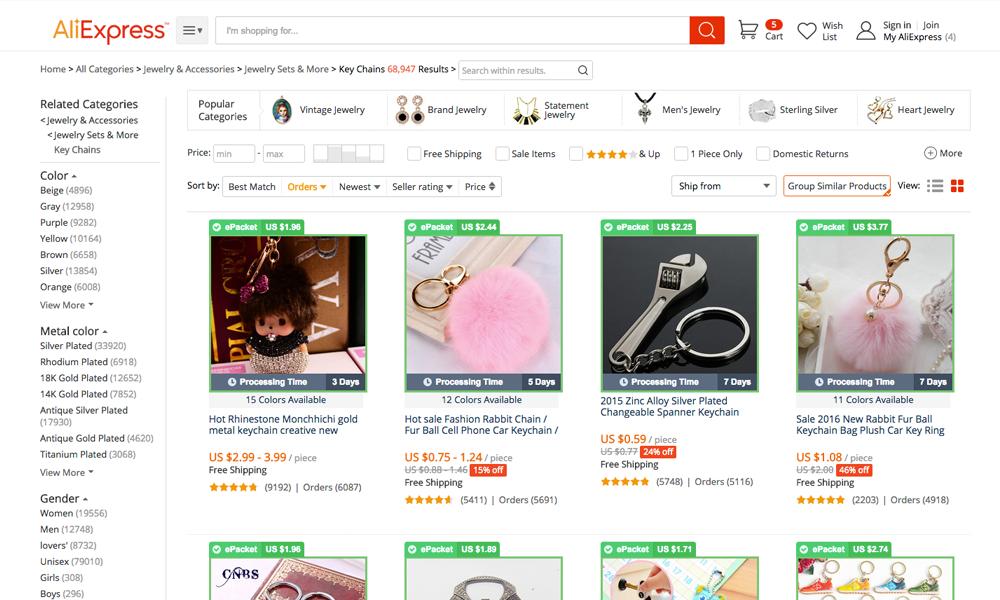 Tìm kiếm sản phẩm có e-Packet