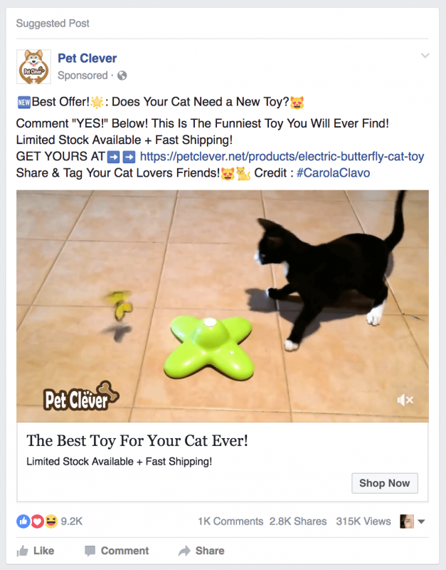Mẫu quảng cáo trên Facebook