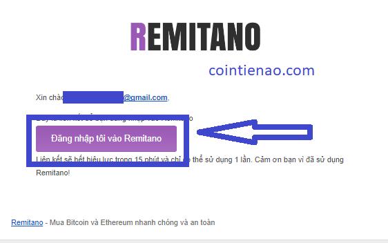 Xác minh tài khoản Remitano qua email
