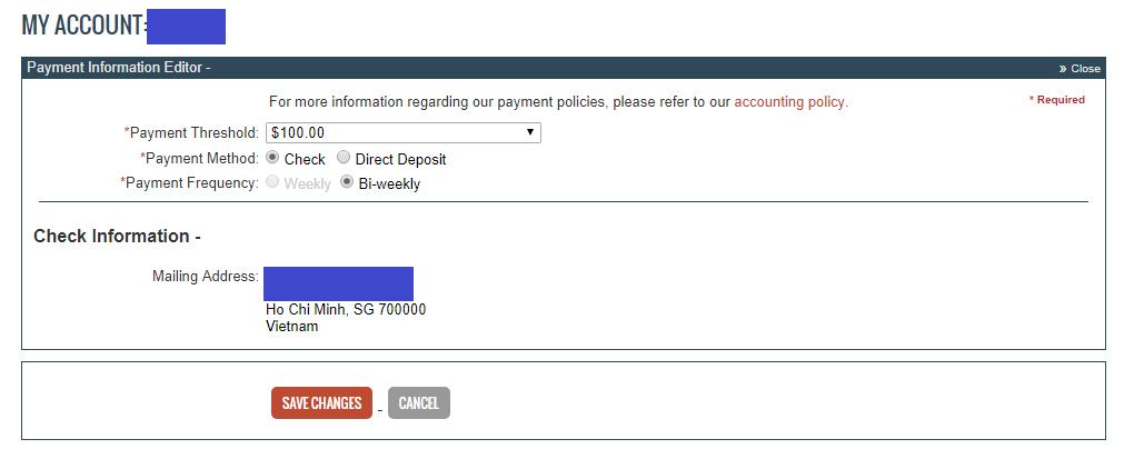 Thông tin thanh toán trên Clickbank