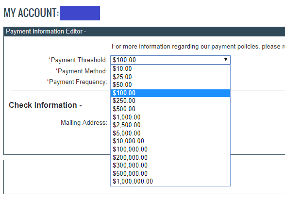 Ngưỡng thanh toán trên Clickbank