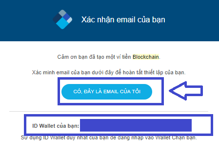 Xác minh email hoàn tất tạo ví trên Blockchain