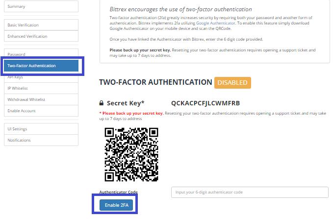 Cài đặt bảo mật 2 yếu tố (2FA)
