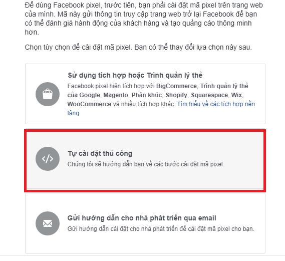 Lấy mã Pixel Facebook