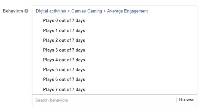 Target theo mức độ chơi game trên Facebook của người dùng