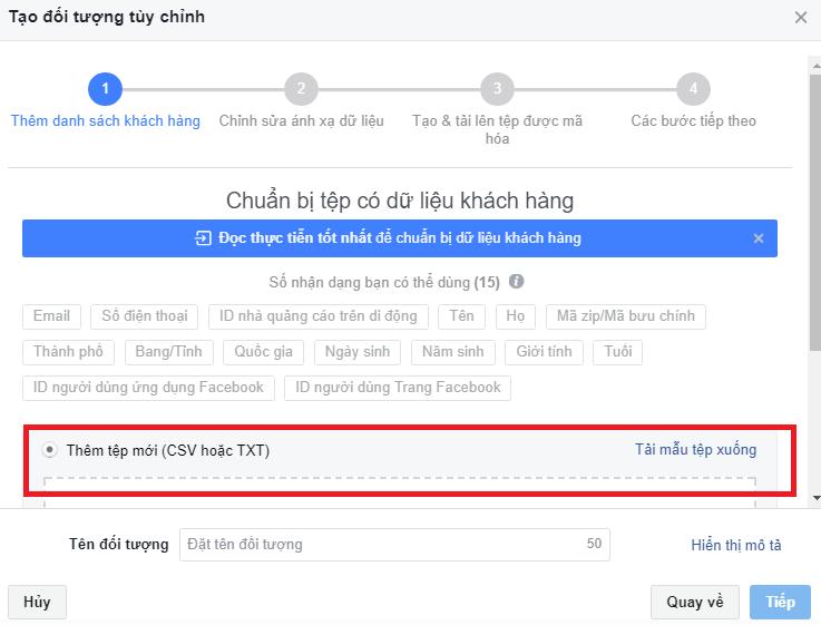 Tải File thông tin khách hàng lên Facebook