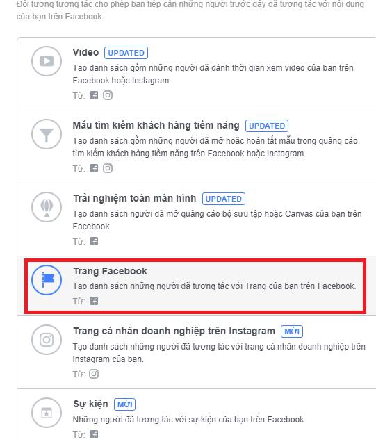 Tạo tệp những người đã từng tương tác với Fanpage Facebook