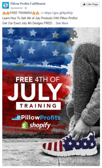 Quảng cáo của Pillow Profits Fulfilment