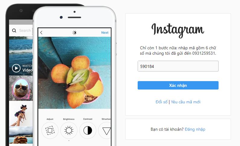 Xác nhận tài khoản Instagram