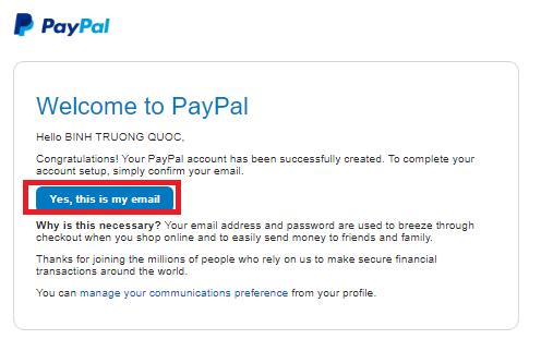 Xác minh tại khoản Paypal