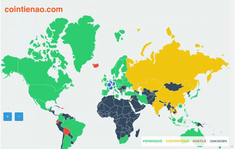 Biểu đồ về tính hợp pháp của Bitcoin trên toàn thế giới