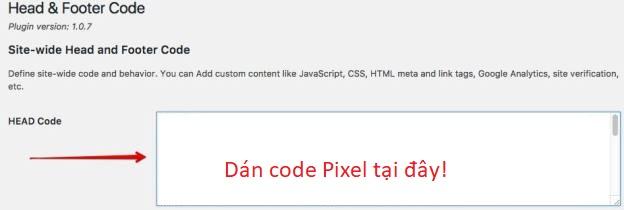 Dán mã Pixel Facebook vào website