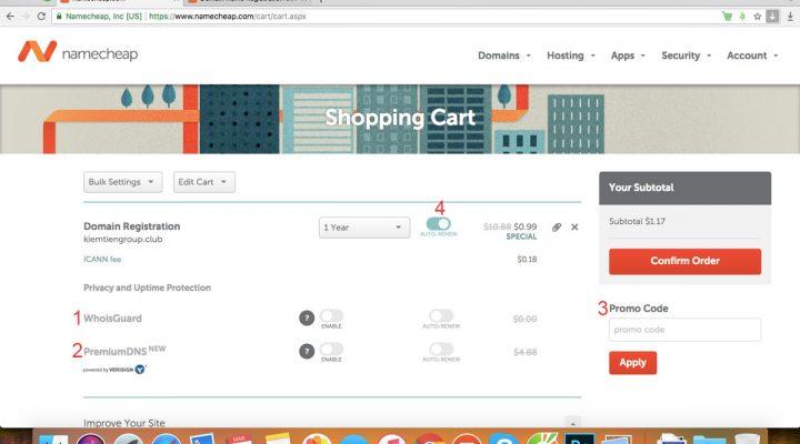 Hướng dẫn mua domain, hosting trên NameCheap.com nhanh chóng